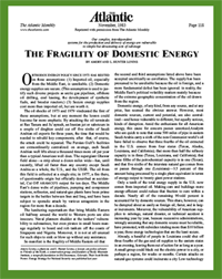 """The Fragility of Domestic Energy,"" by Amory and L. Hunter Lovins, The Atlantic, November, 1983"